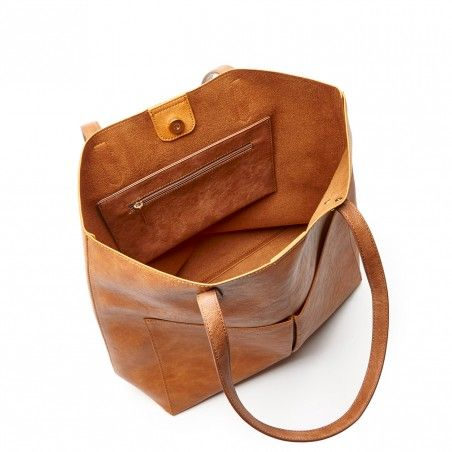 Cognac Vegan Double Pocket Tote   Clifton   Free Shipping on Orders $50+