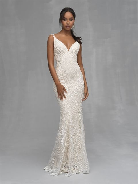 Brand New Sheath Beaded Wedding Dress By Allure Bridals At Kleinfeld Bridal Style C530 Wedding Dress Couture Allure Bridal Wedding Dresses Kleinfeld