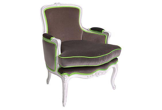 Lourmain Armchair, Brown/ Green on OneKingsLane.com