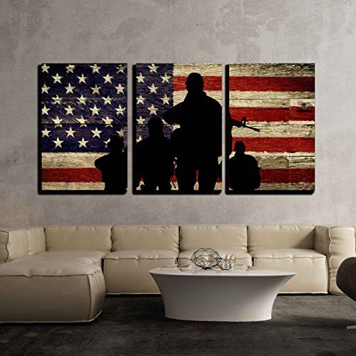 Wall26 3 Piece Canvas Wall Art Silhouette Of Troops On American Flag Background Modern Home Decor Stret Wall Canvas Canvas Wall Art American Flag Background