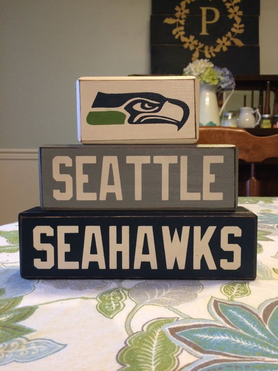 Football Man Cave Gifts : Seattle seahawks block set football team primitive blocks