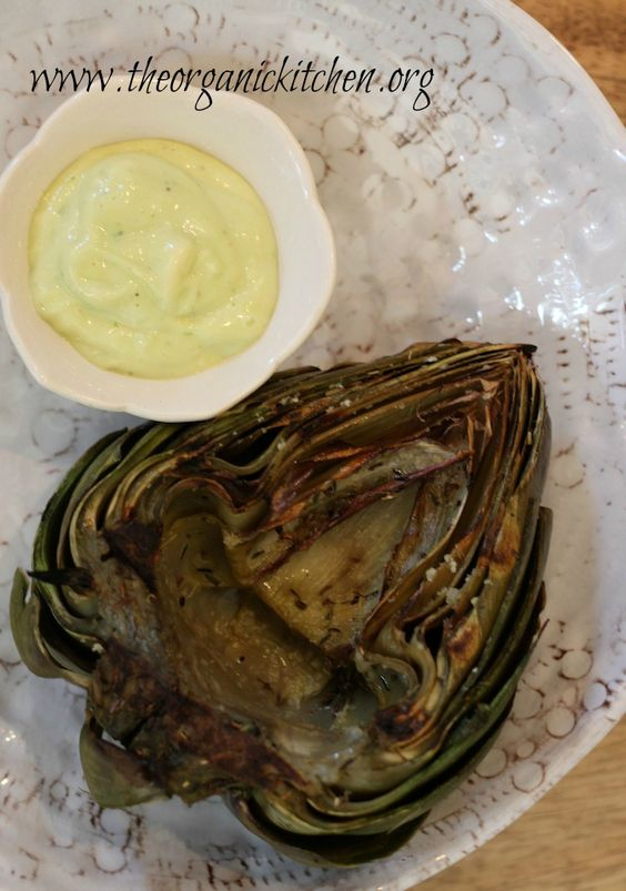Grilled Artichokes with garlic Aioli from www.theorganickitchen.org