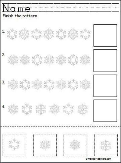 Snowflake Cut and Paste Pattern Worksheet Freebie | December ...