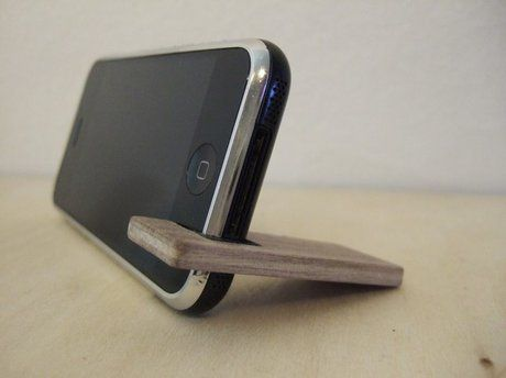 Shoply.com -wood iPhone stand.  fits original, 3G, or 3GS.  walnut with charcoal.