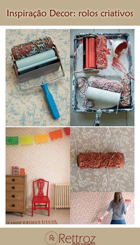Bom dia mulheres abençoadas! Desejamos a todas uma semana inspiradora, então que tal conhecer a criativa ideia da britânica Clare Bosanquet? Ela desenvolveu um novo jeito de pintar paredes ou móveis da casa: os rolos com padronagens. Curtiram?