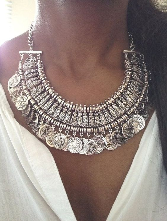 silver coin boho necklace.: