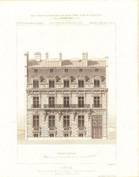 Hotel De Prony in Paris Architectural Facade Design 1883 Architecture Print