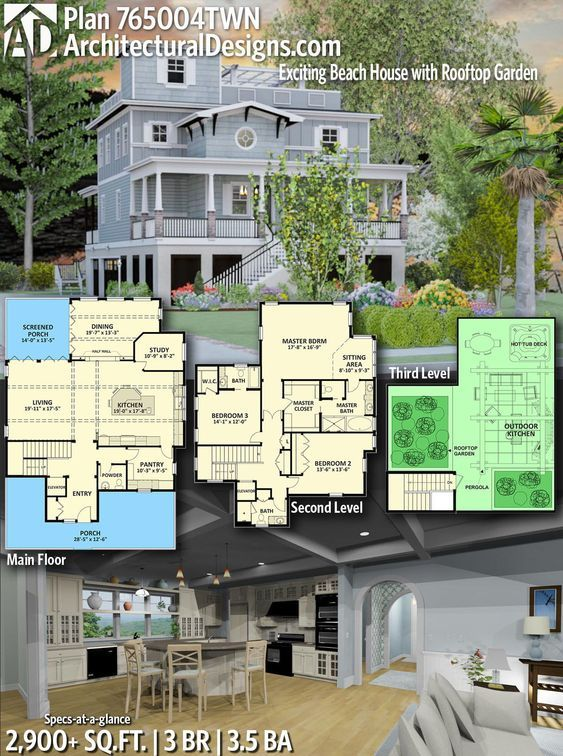 Plan 765004twn Exciting Beach House Plan With Rooftop Garden Beach House Floor Plans Beach House Plan Beach House Plans