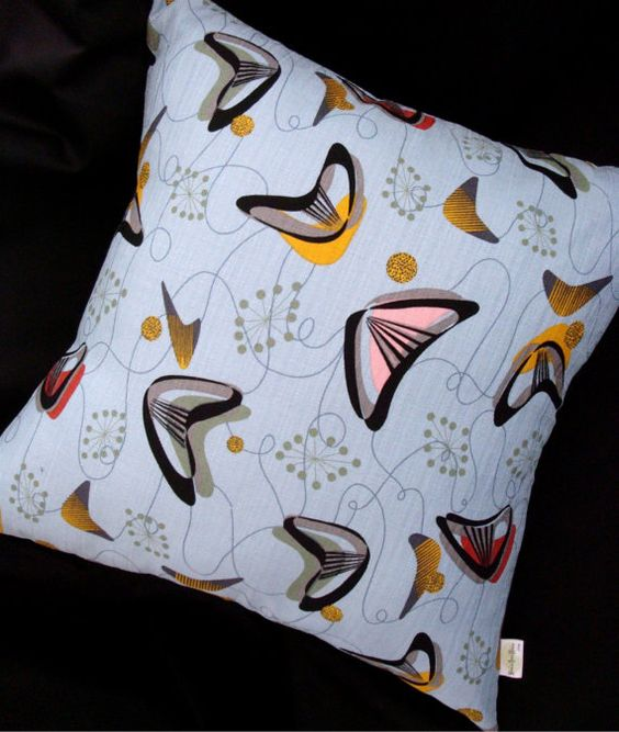 Retro Throw Pillow Cover  Blue Boomerang Beat by atomiclivinhome, $64.00