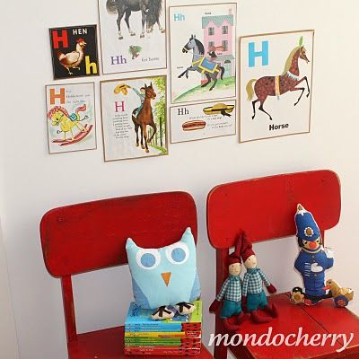 first or last name initials found in vintage children's books as wall art