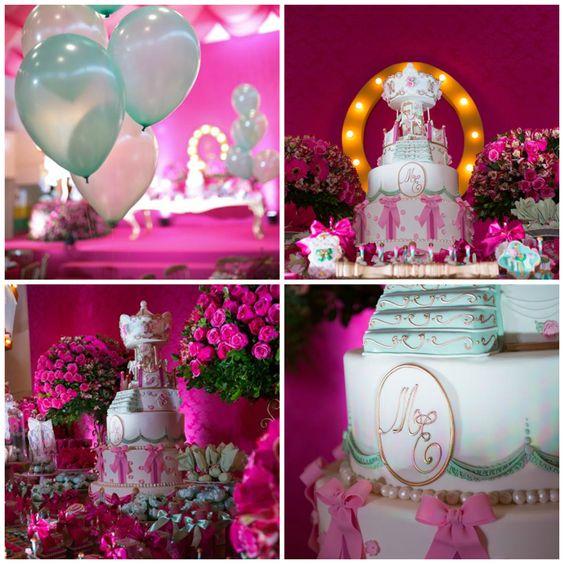 Festa rosa e verde água - Maria Eduarda - 1 ano