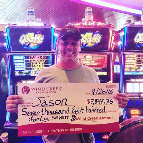 Congrats on your BIG WIN Jason! Jason just hit $7,847.76 on a Quick Hit! WooHoo! #winningmoment #JackpotWinner #WindCreekAtmore