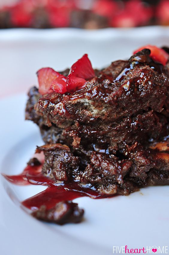 Chocolate Bread Pudding with Raspberry Sauce   Recipe ...