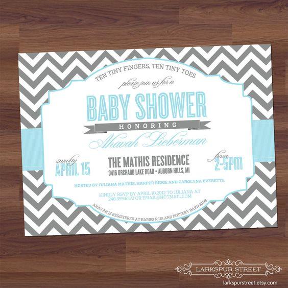 Baby Shower Invitation - Chevron - Modern - Twins, Boy, Girl, Neutral, Sex Unkown, blue, light grey, gray (digital diy printable). $16.00, via Etsy.