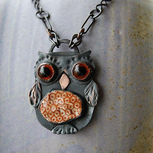 Pottery Shard jewelry - Owl Pendant with Handmade Chain