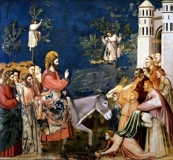 GIOTTO, 1266/67 - 1337: Christ entering Jerusalem. (detail). Fresco. Cappella degli Scrovegni all'Arena, Padua.