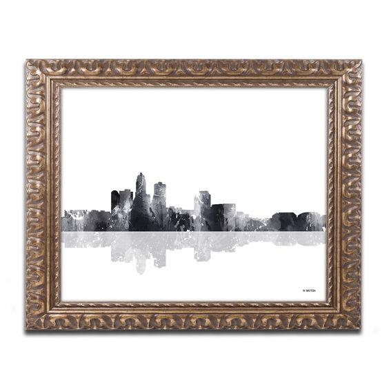 Marlene Watson 'Des Moines Iowa Skyline BG-1' Ornate Framed Art