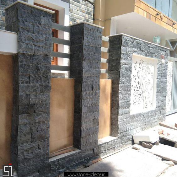 Boundary Wall Tiles Exterior Wall Tiles Stone Wall Cladding Compound Wall Design