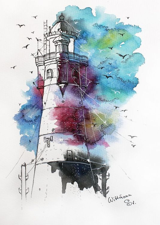 Lighthouse 6 Original Watercolour Painting On Aquaell Paper 19