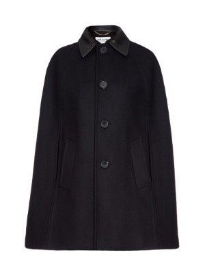 Leather-collared cape | Saint Laurent | MATCHESFASHION.COM