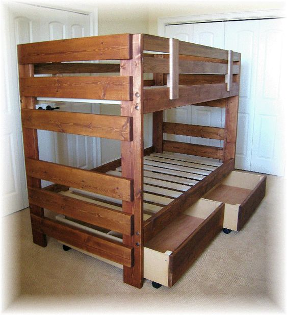 Funny Bunk Bed Plans For Children Rustic Wooden Style