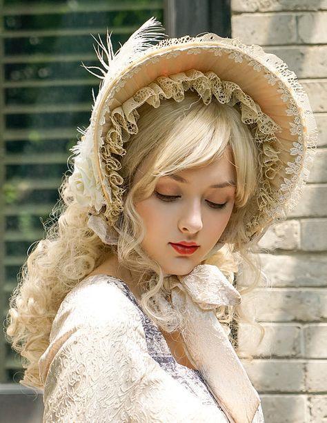 Vintage Rococo Lolita Retro Handmade Bonnet Ladies Jacquard
