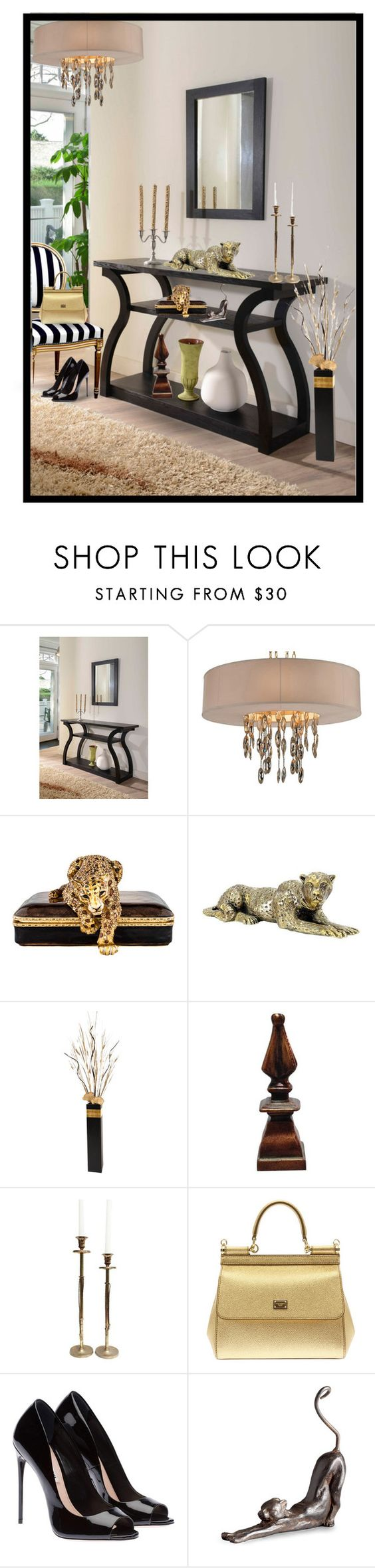 """The Entry"" by chileez ❤ liked on Polyvore featuring interior, interiors, interior design, home, home decor, interior decorating, Furniture of America, Jay Strongwater, GREEN and Dolce&Gabbana"