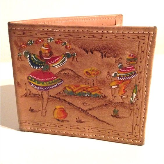 """SALE Vintage Leather Mexican Wallet -Unisex Vintage 1970's - Painted Mexican scene - Soft leather wallet with stitch trim - 2 billfold slots on top - Smaller slot and ID slot on bottom - Some water spots on inside and normal wear on trim - Unisex - Great condition - Measurements : 4 2/8"""" L x 3.5"""" H ✨ No Trades, No Paypal, Reasonable offers considered. ✨ Vintage Bags Wallets"""