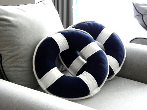 Lifebuoy Pillow Nautical Art Sailor Style Nautical by PrivateDock