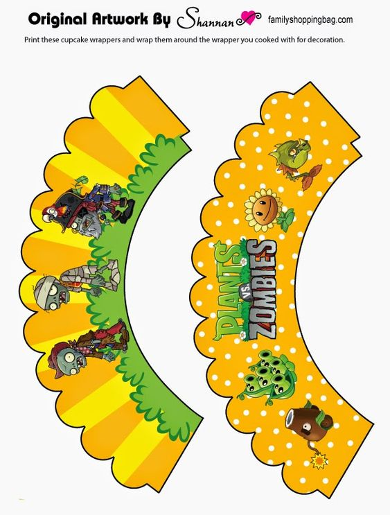 Oh My Fiesta In English Plants Vs Zombies Free Printable Cupcake Toppers And Wrappe Zombie Birthday Parties Plants Vs Zombies Birthday Party Zombie Birthday