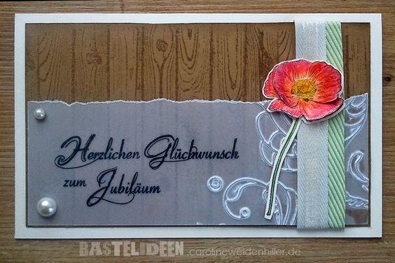 Geburtstagskarte Jubiläum Stempelset: Hardwood, Schrift nicht von Stampin'Up Farben: Savanne, Farngrün