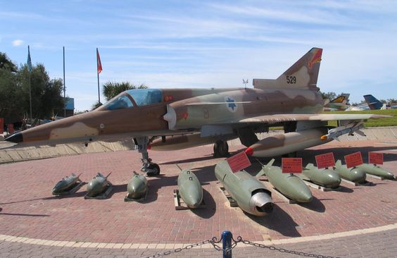 An IAI Kfir with its typical weapon loadout as displayed at the Israeli Air Force Museum, Hatzerim Airbase.