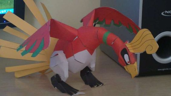 Pokemon - Ho-Oh Ver.2 Free Papercraft Download - http://www.papercraftsquare.com/pokemon-ho-oh-ver-2-free-papercraft-download.html#HoOh, #Pokemon