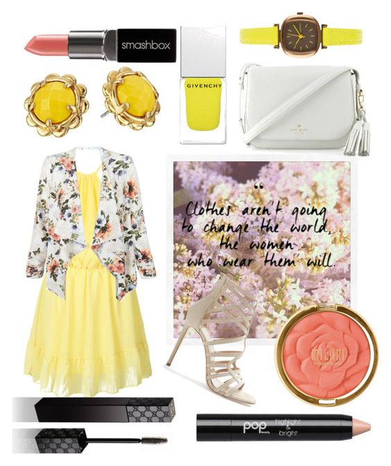 """""""yellow spring florals"""" by maeaballroomprincess ❤ liked on Polyvore featuring WithChic, New Look, Tamara Mellon, Kate Spade, Givenchy, Milani, Komono, Smashbox, Gucci and Pop Beauty"""