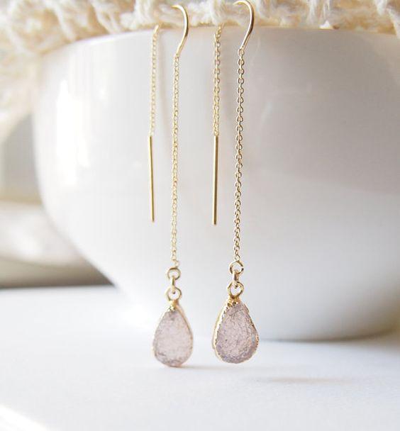 Druzy Earrings Golden Teardrop Dangle Earrings Gold Threader Earrings Chain Earrings