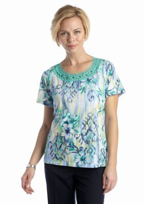 Alfred Dunner  Petite St. Maarten Collection Tropical Lace Beaded Tee