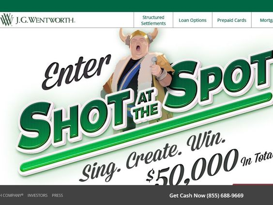 Enter the J.G. Wentworth 'Shot at the Spot' Contest and Sweepstakes for a chance to win $30,000!