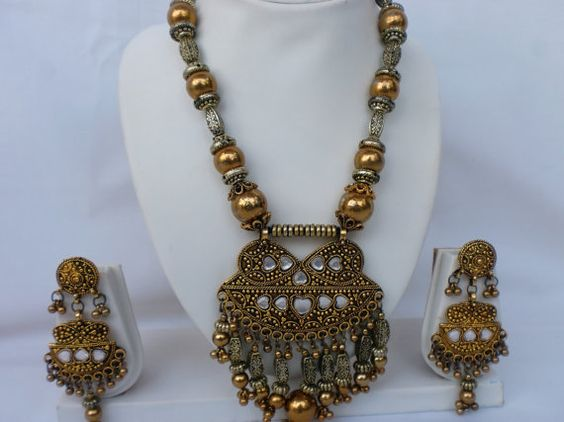Navratri hand crafted antique Golden Oxidized finish by mfussion, $14.00