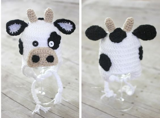 Repeat Crafter Me: Free Crochet Cow Hat Pattern, #freecrochetpattern, animal hat, crochet animal hat,