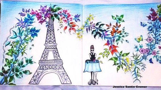 Inspiração Jardim Secreto  Johanna Basford - Secret Garden - Paris e Audrey Hepburn  Pintado por mim @jessicasantin