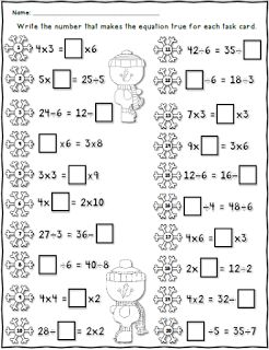 math worksheet : free winter equal equations worksheet using multiplication and  : Solving Addition And Subtraction Equations Worksheet