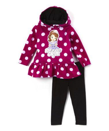 Another great find on #zulily! Dark Pink 'Princess Sofia' Tunic & Black Leggings - Girls #zulilyfinds