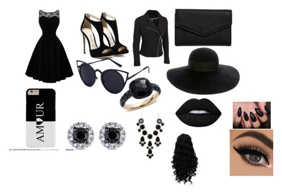 """""""Black Love"""" by crystalroque ❤ liked on Polyvore featuring LULUS, Eugenia Kim, Pomellato, Natasha Accessories, Lime Crime and plus size clothing"""