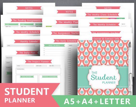 """Planificador de colegio para imprimir: """"Planificador del estudiante"""" carta, A4…"""