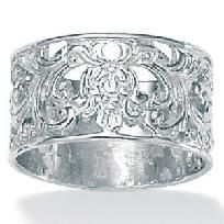Sterling silver elegant filigree band ring Size 7. Free shipping!  <<<----- Closest I have found to a similar ring that I have.  Would love to know the actual jeweler that makes it.: Ring Sizes, Band Rings, Photons Gifts