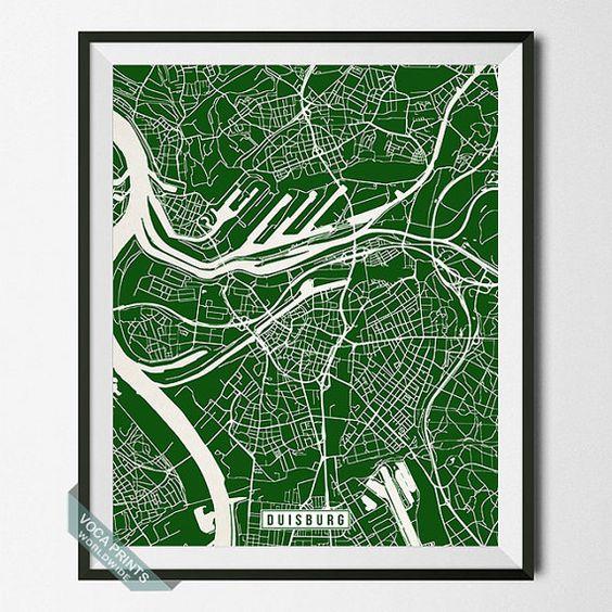 Duisburg Map Germany Poster Duisburg Poster Duisburg by VocaPrints