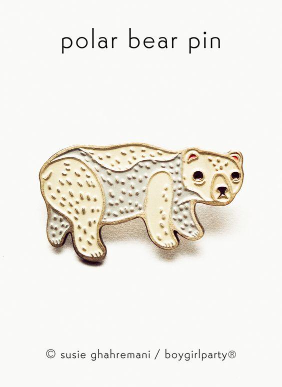Polar Bear Pin - Enamel Pin by boygirlparty