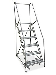 """6 Step Rolling Safety Ladder with 10"""" Top Step - Assembled H-1083-10 - Uline"""