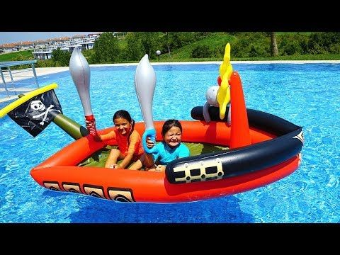 Masal And Oyku Play With Giant Inflatable Pirate Ship Fun Kids Video Youtube Youtube Videos For Kids Kids Videos Giant Inflatable