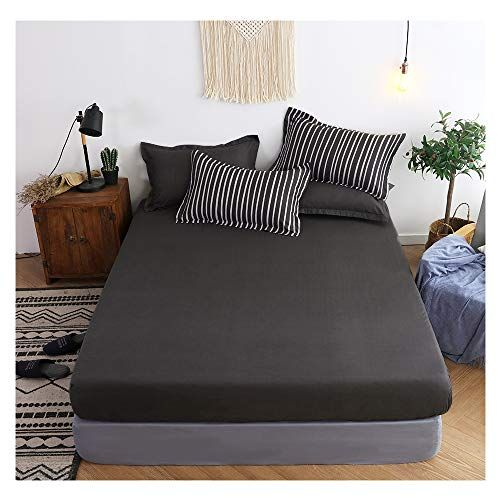 Orihome Fitted Sheet Simple Solid Color Fitted Sheet Microfiber Bedding Wrinkle Stain Resistant Hypoallerge Microfiber Bedding Fitted Sheet Bed Sheet Sets